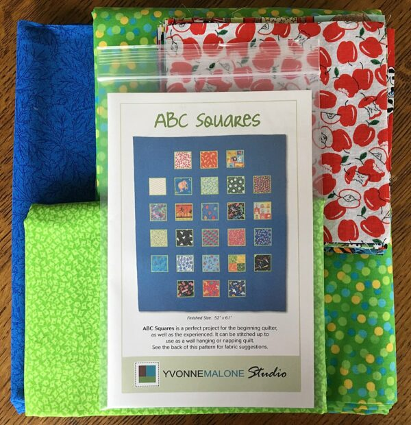 Fabrics and patterns in the ABC Quilt Kit