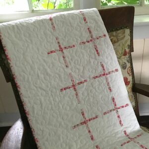 Pink and White Christening Quilt with Cross Motif