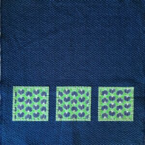 Dark blue quilt with 3 large squares with Japanese Lantern Plant print