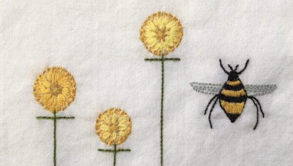Embroidered Bee and Flowers