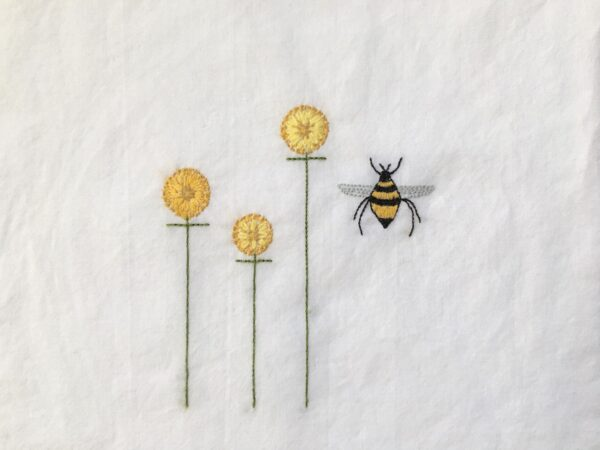 Flowers and Bee featured in Bee in the Garden Embroidery Project