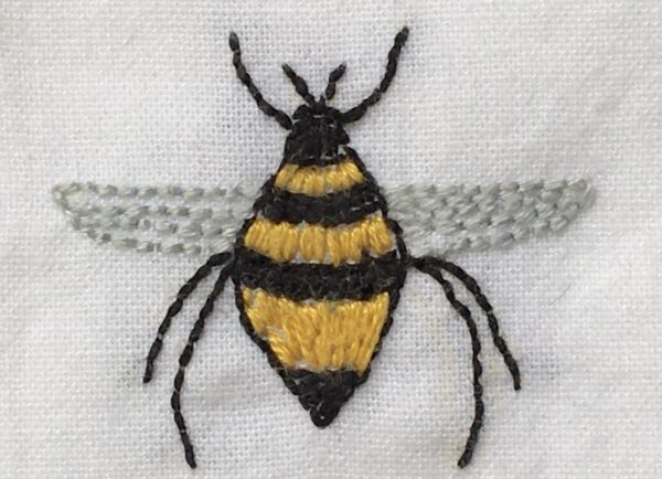Up Close Image of Bee from Bee in the Garden Embroidery Project