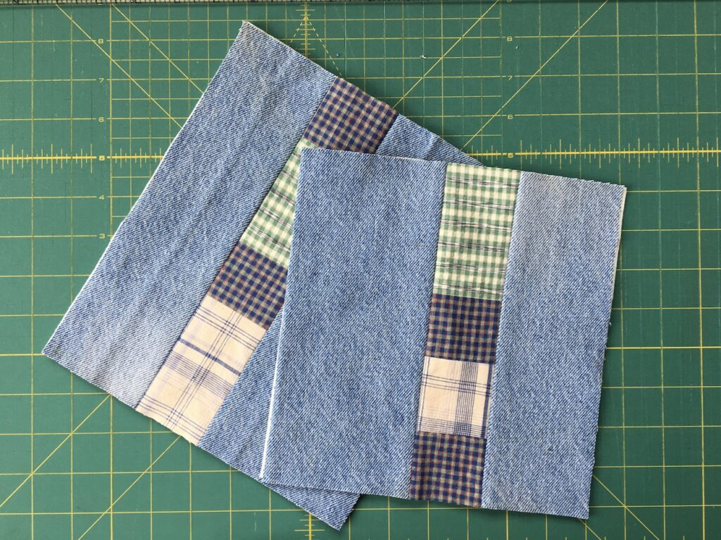 Two Hot Pads Made from Denim Jeans and Scraps of Plaid Fabric