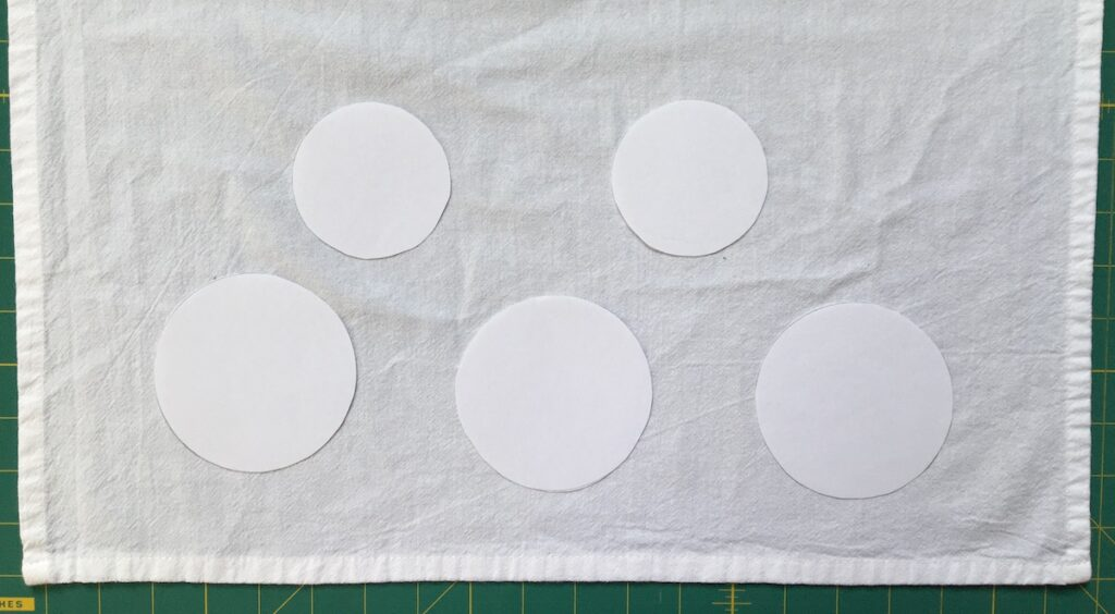 Layout option of Circles on Soap Bubble Dishtowel Embroidery Project