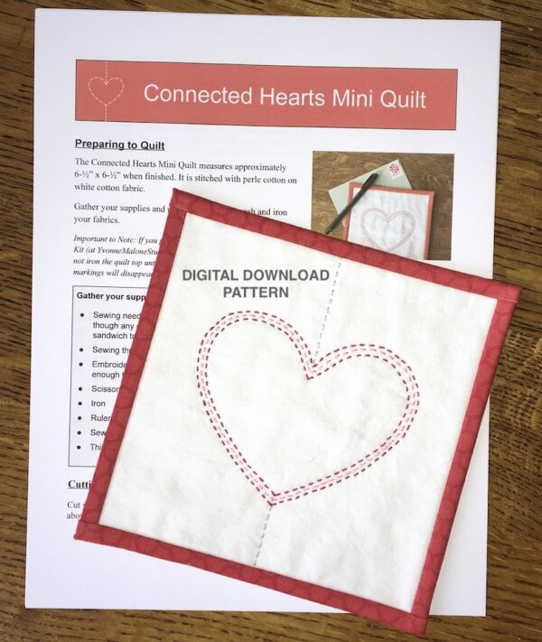 Connected Hearts Mini Quilt Pattern - Digital Download Version