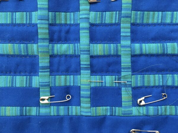 Up close image of Hammock during the hand quilting process
