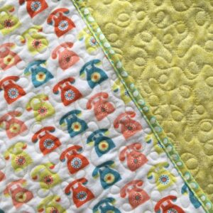 Reversible Whole Cloth Quilt with Retro Phone Print on Front and Apple Green Backing Fabric
