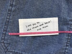 Handmade cotton clothing label