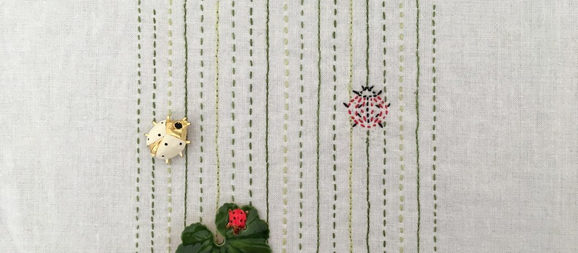 Ladybug Embroidery Project with Pins that Inspired It